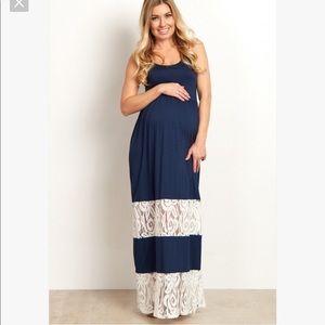 Pinkblush Dresses - Pinkblush navy & lace maxi dress